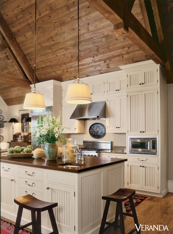 rustic wooden ceiling with sculptural beams