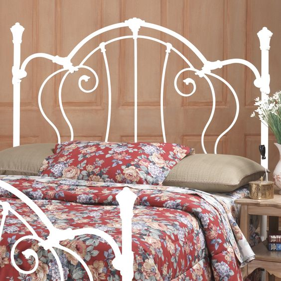 vintage white metal headboard