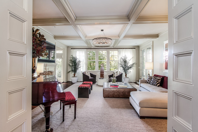 silver and white coffered ceiling for a living room