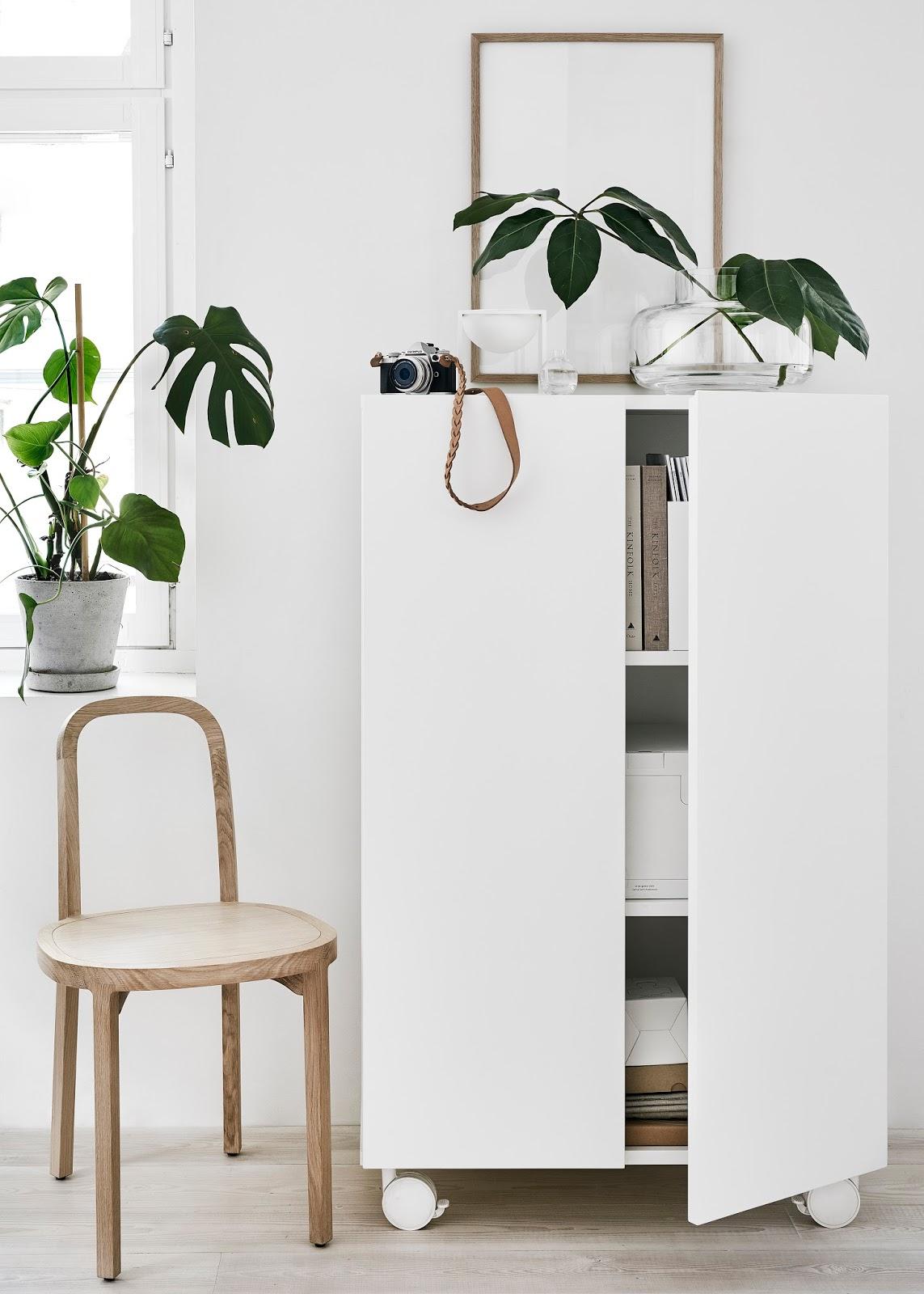Finnish Design Shop 24:7 collection cupboard, Siro chair by Woodnotes and Marimekko Urna vase. Styling and photo Riikka Kantikoski