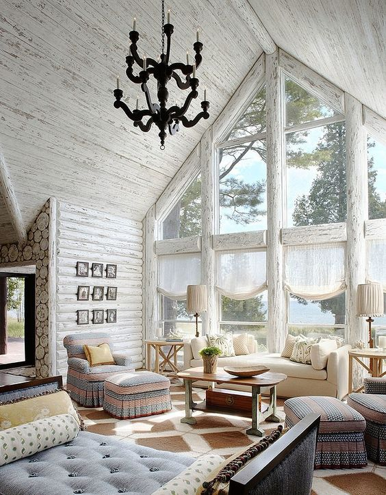 whitewashed weathered wooden ceiling