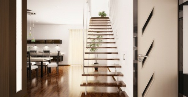 Space-saving stairs interior staircase for small apartment