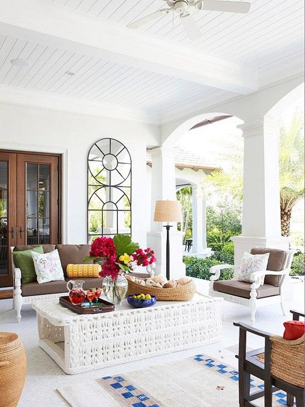 Furnishing ideas porch white palette mirror light
