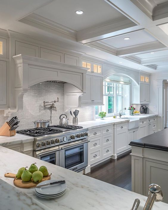 white coffered ceiling for a kitchen