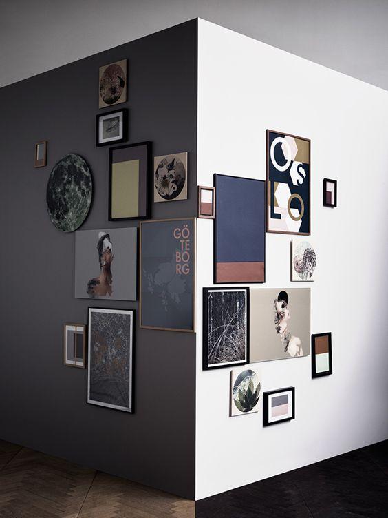 modern corner gallery wall