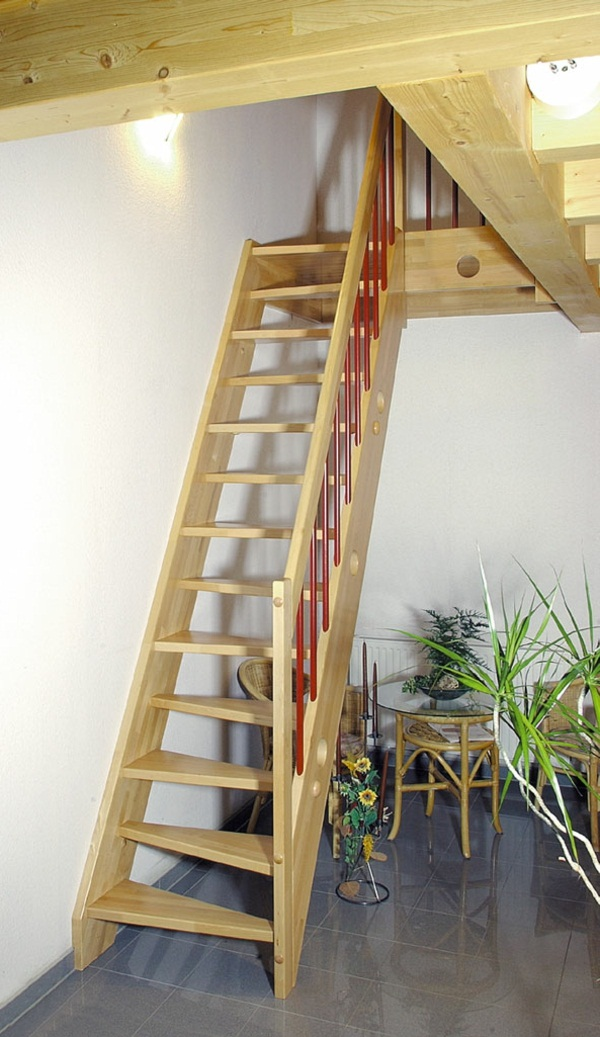 Residential idea wooden stairs to the apartment