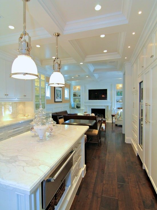 white coffered ceiling with lights in the kitchen