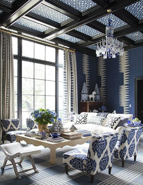 dark wood and blue patterned coffered ceiling for a living room