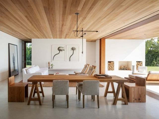 warm colored wooden ceiling