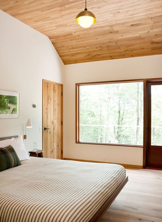 warm colored plank wooden ceiling