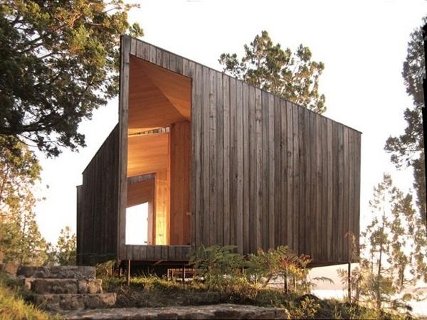 geometric shapes wood sauna design