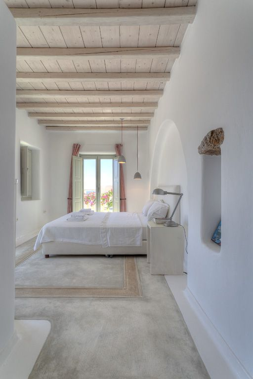 whitewashed rustic wooden ceiling with beams