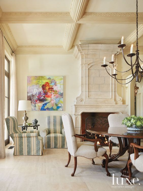 nude coffered ceiling for a refined living room