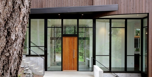 modern glass structure front doors