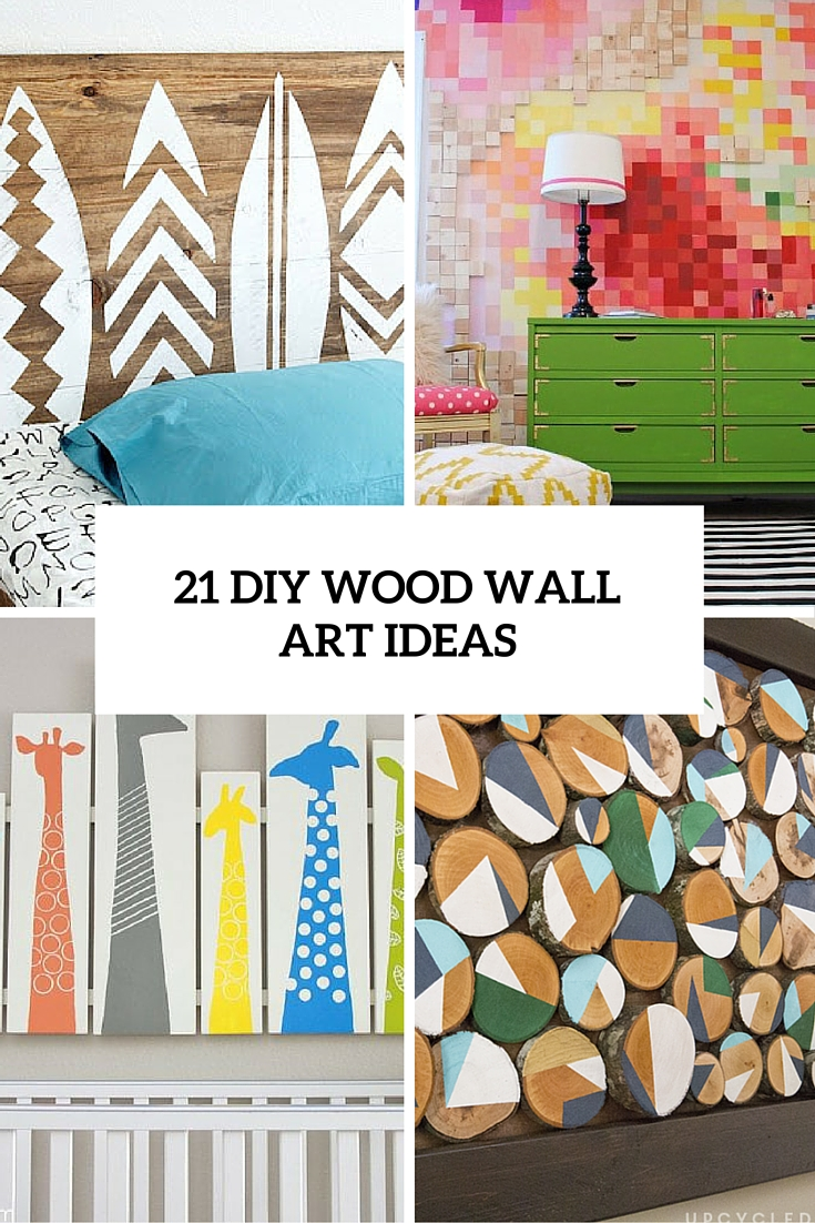 21 diy wood wall artwork pieces for any space and interior for Drawing decoration ideas