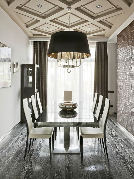 beige dining room coffered ceiling
