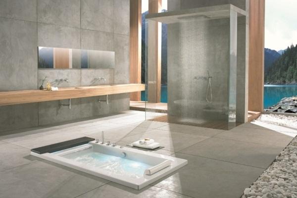 Boulders bathroom design decoration idea hot tub