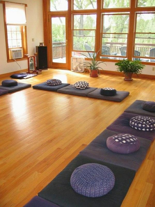 Meditation room Yoga pillow cushion plants meditation