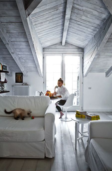 whitewashed weathered reclaimed wooden ceiling