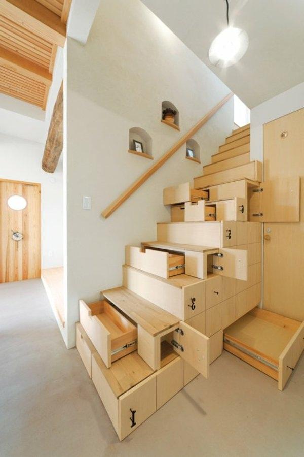 Storage space saving stairs wood