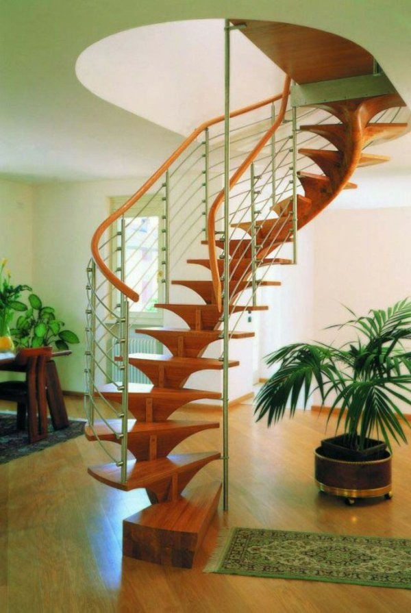 wood stair for small apartment