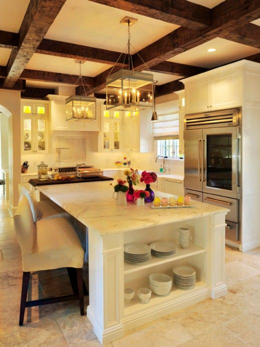 white and dark wood coffered ceiling for a kitchen