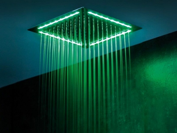 Rainshower wall LED lighting integrated green color modern