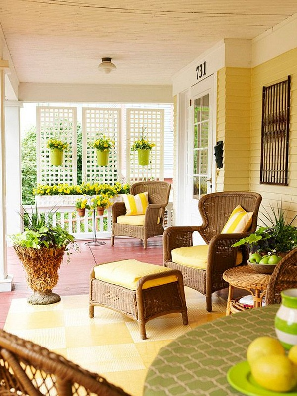 Furnishing ideas porch lattice yellow color sunny