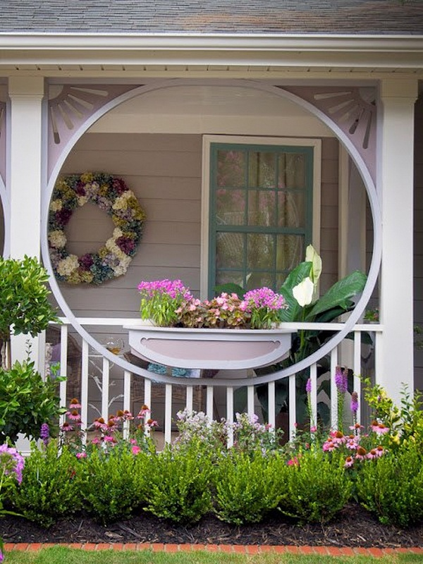 yellow color pink covered wooden porch where scheme