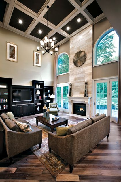 black and white coffered ceiling for a living room