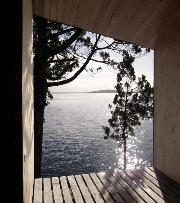 panoramic view lake wood sauna design