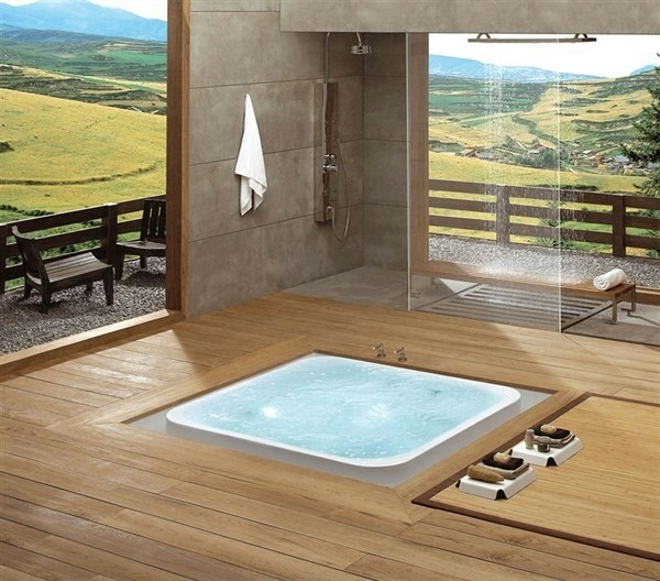Wood flooring design hot tub
