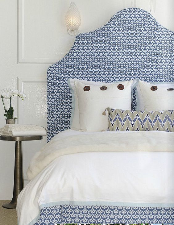 patterned upholstered headboard