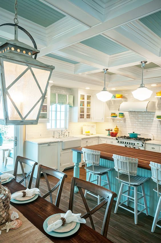 turquoise and white coffered ceiling for a kitchen