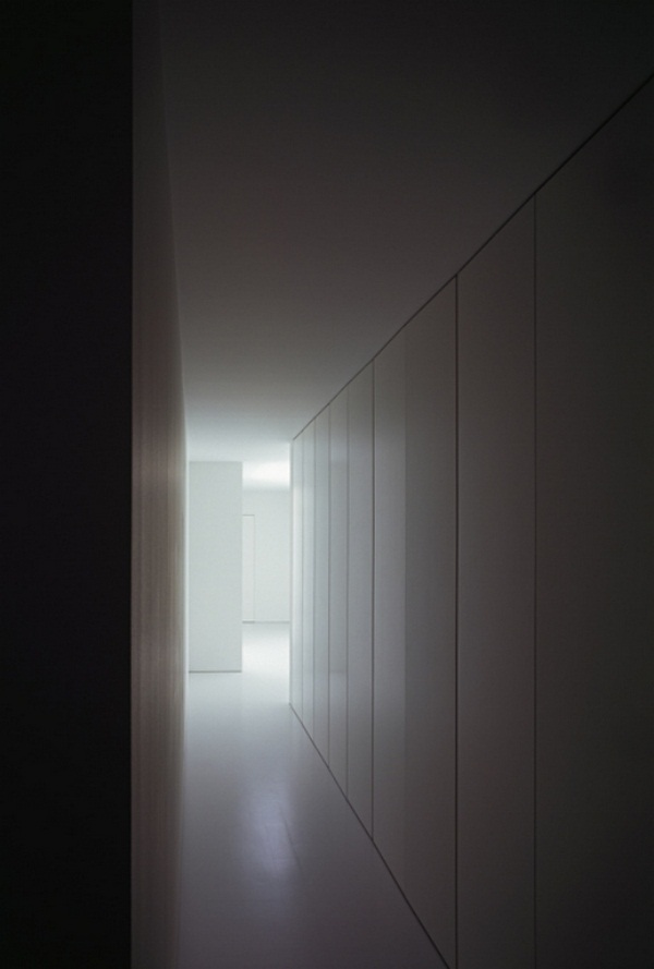 Corridor house concrete interior design layer minimalistic design