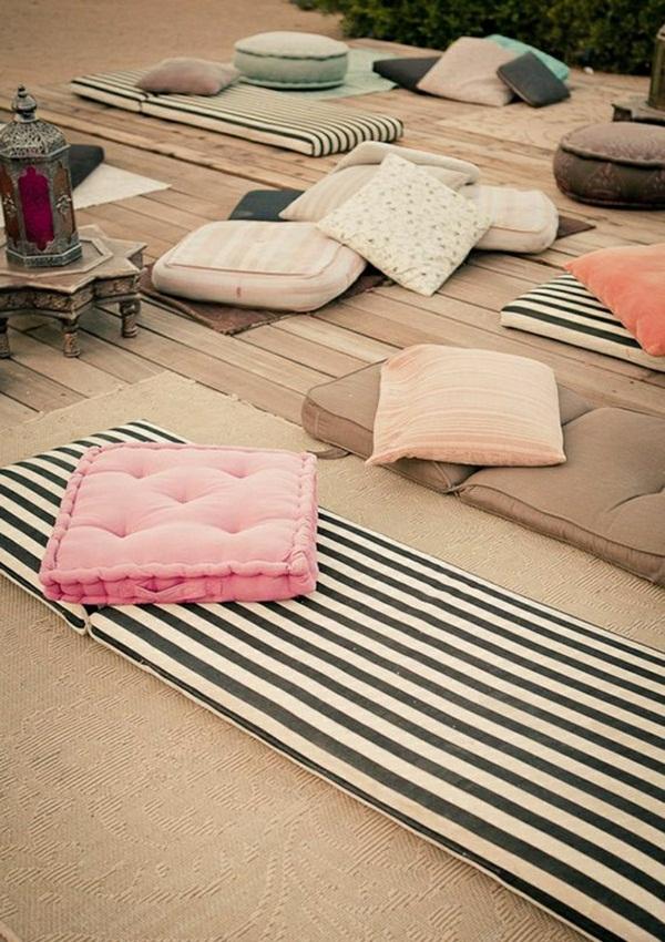 Yoga cushion stripes ornaments meditation