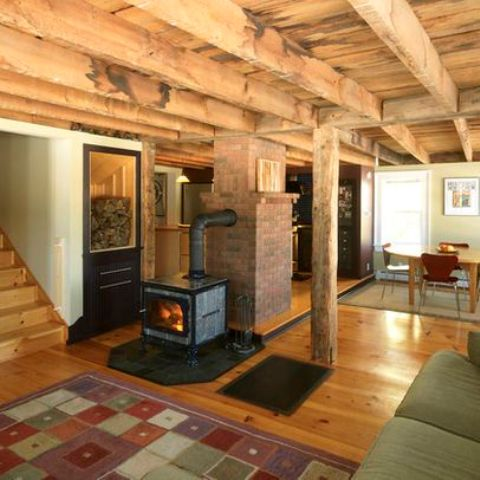 rustic wood basement ceiling