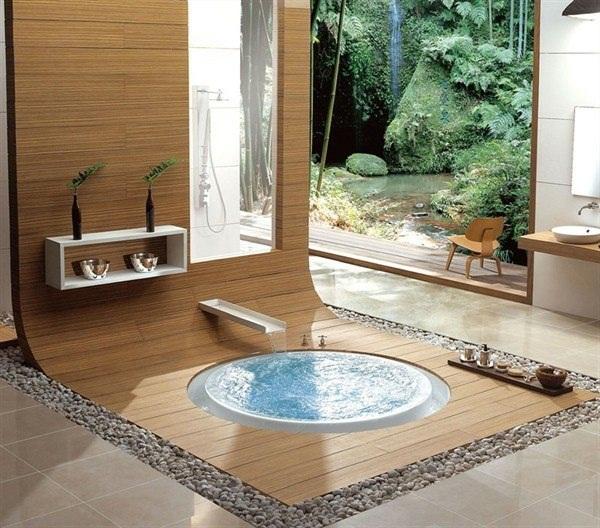 Bathroom wood Wallcovering installation bath
