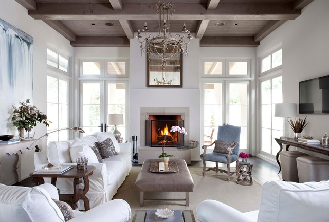 natural wood coffered ceiling for a white living room