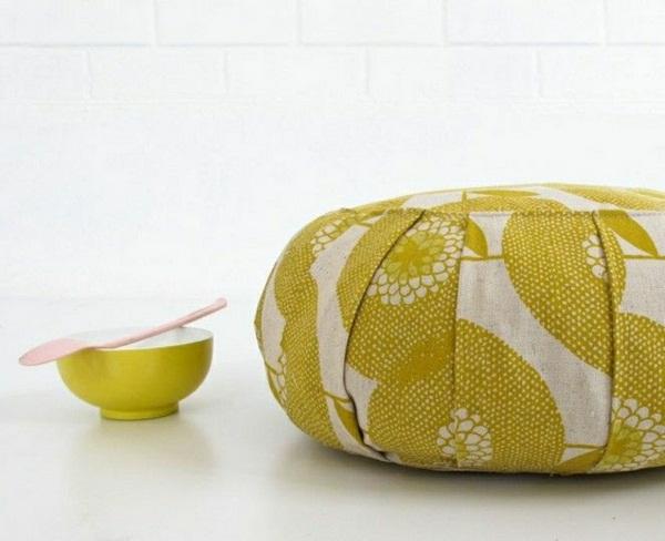 Yoga cushion of shapes meditation room