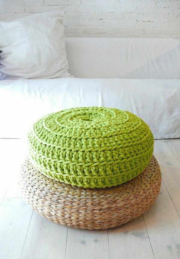 Floor cushion crocheted Yoga meditation