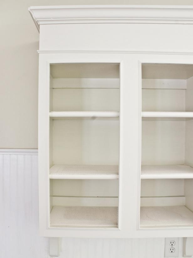DIY whitewashed kitchen cabinets