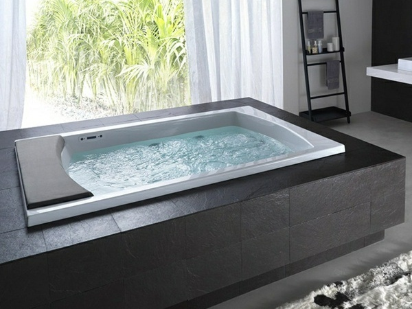modern bathroom design ideas jacuzzi stone