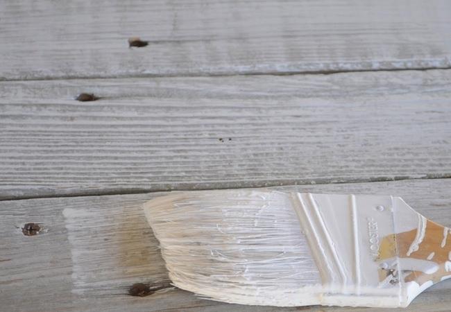 DIY wood whitewashing