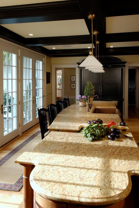 black and white coffered ceiling for a kitchen