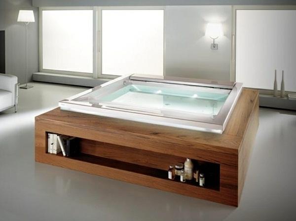 Hot tub wood paneling shelves freestanding bath