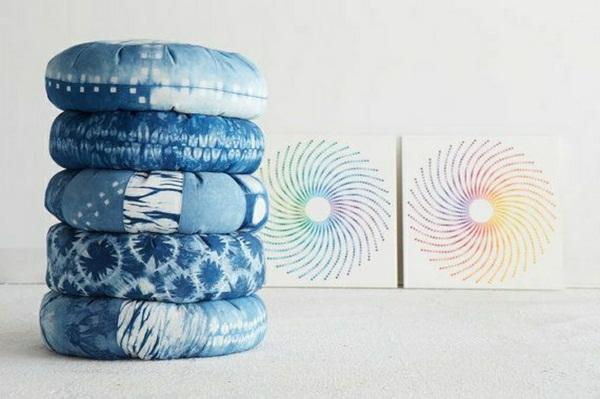 beautiful blue Yoga pillow meditation pillow