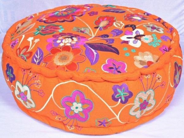 embroidered cushion Indian pattern Yoga meditation