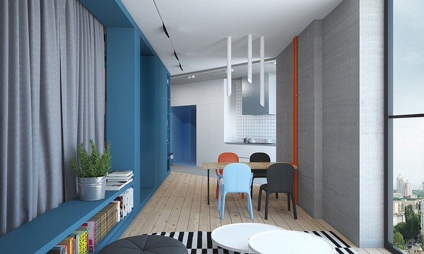 Small apartments decorated in red and blue (1)