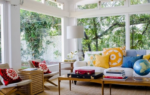 University ideas conservatory veranda vintage chairs upholstered cushion yellow blue